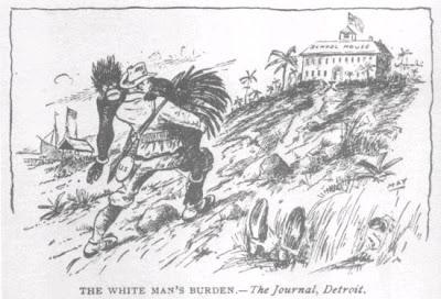 Το «βάρος» του λευκού ανθρώπου. «Οι Τευτονικές φυλές οφείλουν να εκπολιτίσουν όσους είναι πολιτικά απολίτιστοι. Οφείλουν να έχουν μια αποικιακή πολιτική. Οι φυλές των βαρβάρων εάν αποδειχθούν ανίκανες να αποδεχθούν τον πολιτισμό πρέπει να παραμεριστούν...», Εφημερίδα, The Journal, Detroit, USA, Πηγή: seeker-lotswife.blogspot.com