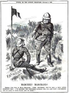 «Προχωράτε! Μαρσάν!». Ο Βρετανός στρατηγός Τζον Μπουλ απευθύνεται στον Γάλλο ταγματάρχη Μαρσάν: «Ελάτε καθηγητή. Κάνατε ένα πολύ ωραίο επιστημονικό ταξίδι! Εγώ από τη μεριά μου συνέτριψα τους Δερβίσηδες – ευτυχώς για εσάς. Τώρα σας ζητώ να μαζέψετε τις σημαίες σας και να πάτε σπίτι...». Πηγή : www.mideastcartoonhistory.com/fashoda incident .