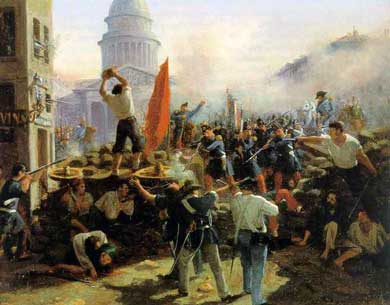 Το Οδόφραγμα της οδού Σουφλό, Παρίσι, Φεβρουάριος 1848. Πίνακας του Horace Vernet . (Πηγή: http://www.memo.fr/en/article.aspx?ID=CON_PDP_005, ανάκτηση 8.10.2014)