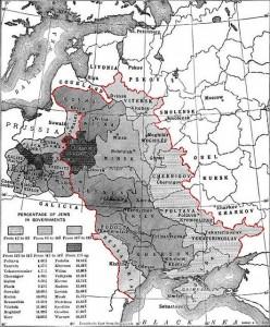 Ποσοστά Εβραίων στη Ζώνη Εγκατάστασης (Pale of Settlement) το 1905. (Πηγή:http://commons.wikimedia.org/wiki/File:Map_showing_the_percentage_of_Jews_in_the_Pale_of_Settlement_and_Congress_Poland,_The_Jewish_Encyclopedia_(1905).jpg ανάκτηση 8/10/2014)