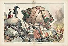 Ο πρόεδρος Τιοντόρ Ρούσβελτ στον Τσάρο Νικόλαο: «Σταμάτα τη βάναυση καταπίεση των Εβραίων». Λιθογραφία που σχετίζεται με το πρώτο πογκρόμ στο Κισινάου το 1903 (Βιβλιοθήκη του Κογκρέσου)  (Πηγή: http://en.wikipedia.org/wiki/Kishinev_pogrom ανάκτηση 8/10/2014 )