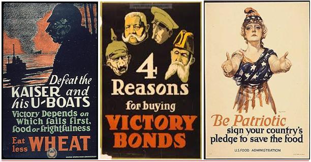 Προπαγανδιστικές αφίσες του Α' Παγκοσμίου Πολέμου.