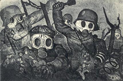 Γκραβούρα του Ότο Ντιξ (Otto Dix). Προελαύνοντας υπό αέρια (Stormtroops advancing under gas). Γερμανικό Ιστορικό Μουσείο Βερολίνου (Deutsches Historisches Museum, Berlin). (Πηγή:http://puffin.creighton.edu/fapa/History%20of%20Art/Web-files/0New%20ART%20219%20Webfiles/articles%20and%20long%20texts,%20freud/WWI/world_war_i.htm)