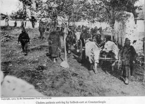 Στρατιώτες του οθωμανικού στρατού, θύματα της χολέρας, μεταφέρονται προς την Κωνσταντινούπολη.