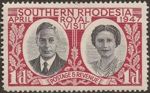 Γραμματόσημο με την ευκαιρία της επίσκεψης του βρετανικού βασιλικού ζεύγους στη Ροδεσία. Πηγή: https://en.wikipedia.org/wiki/Southern_Rhodesia