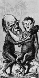 Ο Δαρβίνος και ο πίθηκος. Καρικατούρα εποχής.  (Πηγή: https://www.latercera.com)