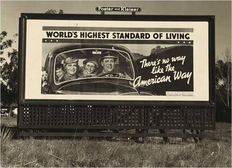Σε αντίθεση με τις γιγαντοαφίσες που εκθείαζαν το αμερικανικό όνειρο η πραγματικότητα αντιστοιχούσε σ' ένα ζωντανό εφιάλτη.