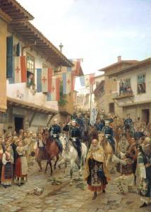 Υποδοχή του ρωσικού στρατού σε αρμενική πόλη. Ρωσο-οθωμανικός πόλεμος 1877-1878