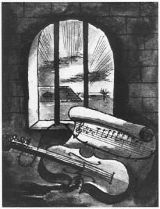 1943, Νεκρή φύση, βιολί και παρτιτούρα πίσω από τα κάγκελα της φυλακής του Bedrich Fritta (1906-1944). Εβραίος Τσέχος καλλιτέχνης που δημιούργησε σχέδια και πίνακες που απεικονίζουν τις συνθήκες στο στρατόπεδο Theresienstadt. Ο Fritta οδηγήθηκε στο Άουσβιτς τον Οκτώβριο του 1944. Πέθανε εκεί μια εβδομάδα μετά την άφιξή του. Πηγή: USHMM, ευγενική προσφορά του Edgar και Hana Krassa. https://www.ushmm.org/wlc/en/media_ph.php?ModuleId=10007461&MediaId=6588